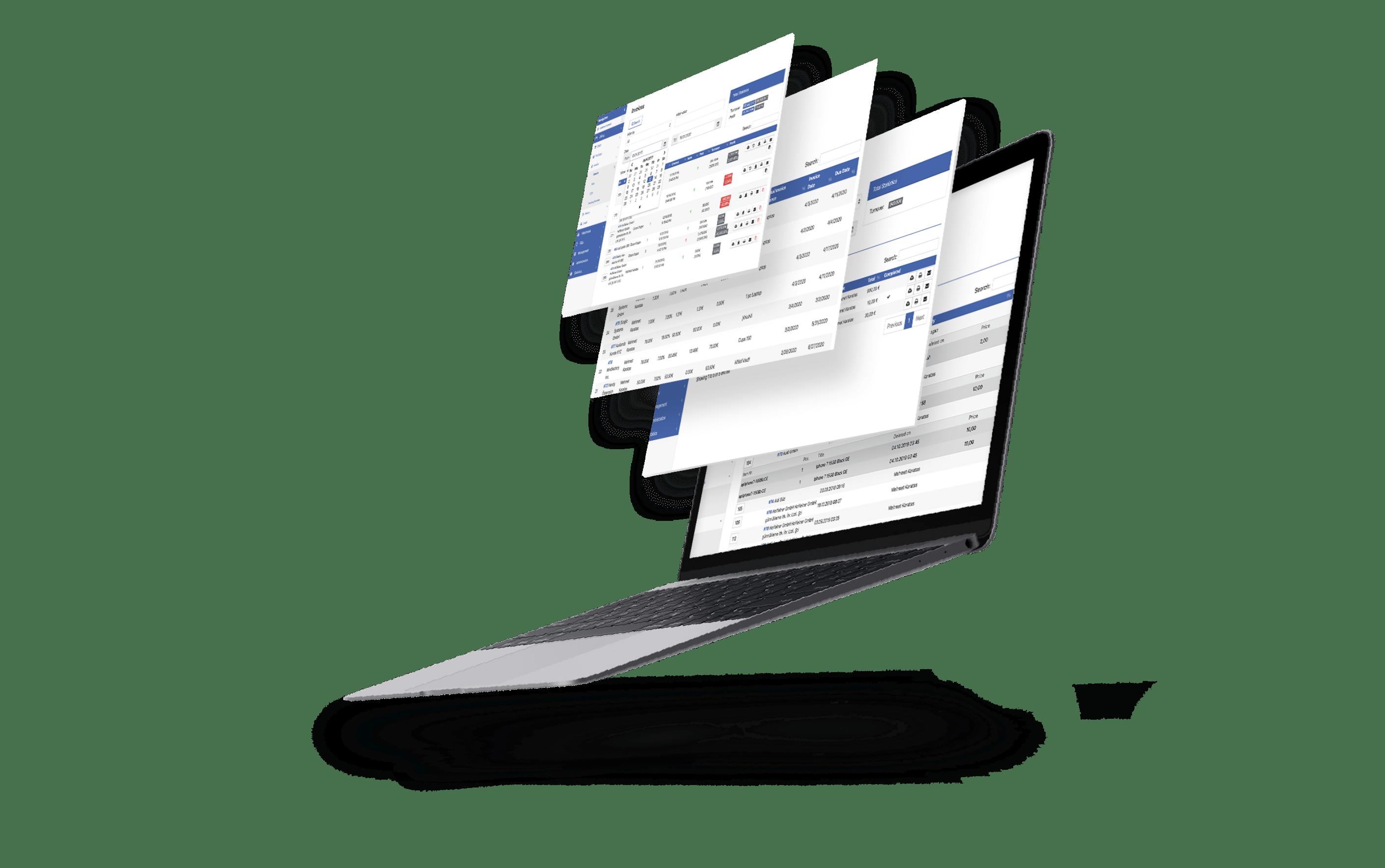 Fliegendes Macbook mit Warenwirtschaftssystem